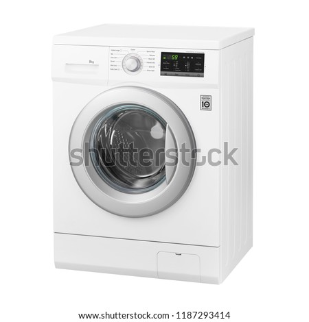 White Front Load Washing Machine Isolated on White Background.Side View of Modern Washer with Electronic Control Panel. Household and Domestic Appliance. Home Innovation #1187293414