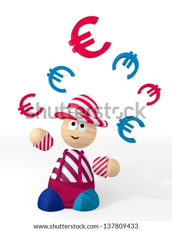 ... funny money 3d graphic with happy Euro sign juggled by a clown