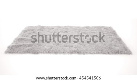 Shutterstock White furry carpet. Isolated 3d render