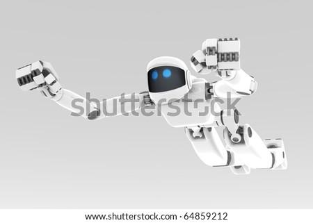 White futuristic robot flying like a super hero
