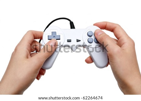 white game controller in hand isolated on white background - stock photo