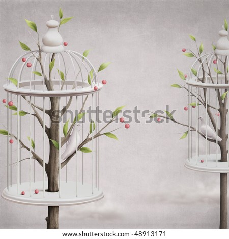 White garden with birds in a cage