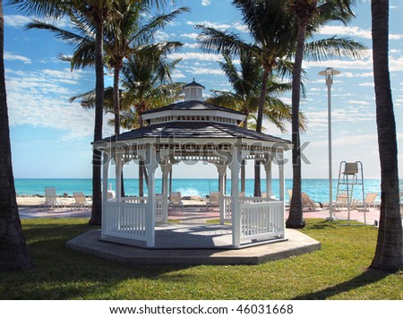 stock photo White gazebo for weddings overlooking tropical beach