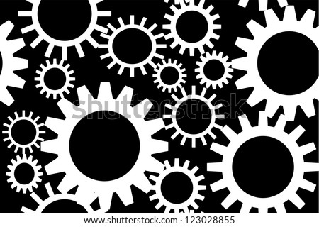 White gears on black background