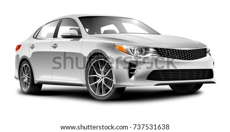 White Generic Sedan Car On White Background. Perspective View. With Isolated Path. 3d illustration.