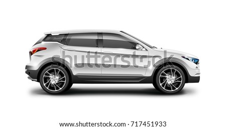 White generic SUV car. Off Road Crossover with glossy surface on white background. Side view with isolated path