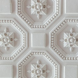 White geometric ornamental pattern of ceiling for background.