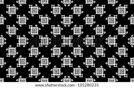 White geometric pattern on a black background - stock photo