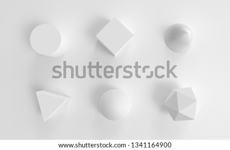 White geometry abstract objects set. Background 3d render. Concept simple illustration for web, digital and print materials. Cone, cube, sphere and cylinder object on plane with realistic light