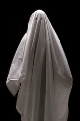 White Ghost on Black Background