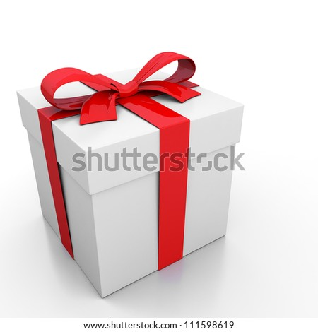 White gift box and red ribbon - stock photo