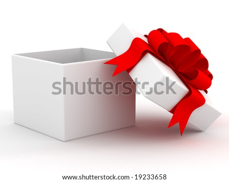 White gift box. 3D image.