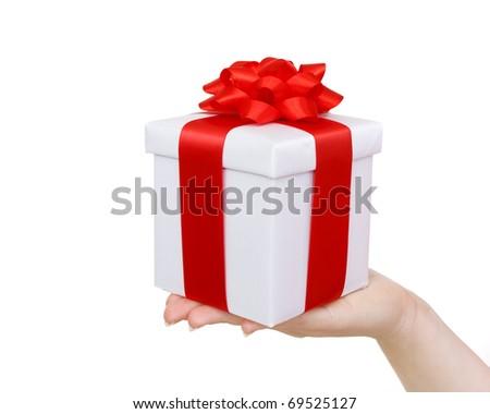 white gift box on hand