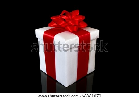 white gift box on the black background