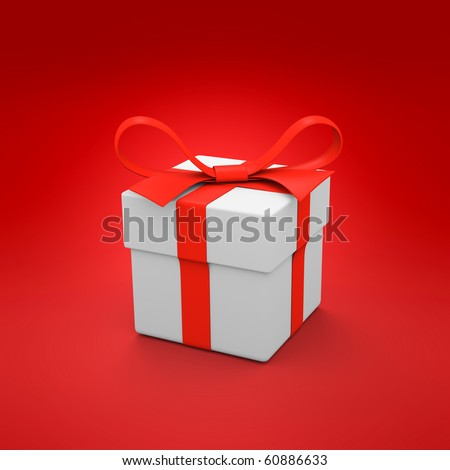 White gift box on the red background