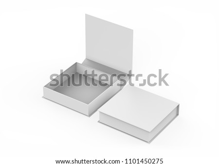 White gift box, white gift bag. Blank gift boxes and gift bags on isolated white background, 3d illustration
