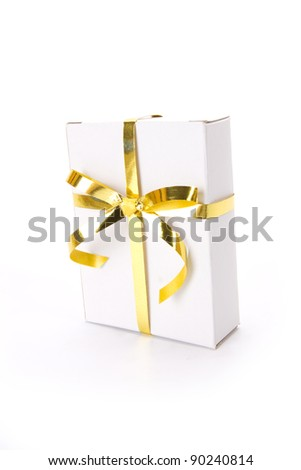 white gift box, white gift box with golden ribbon.