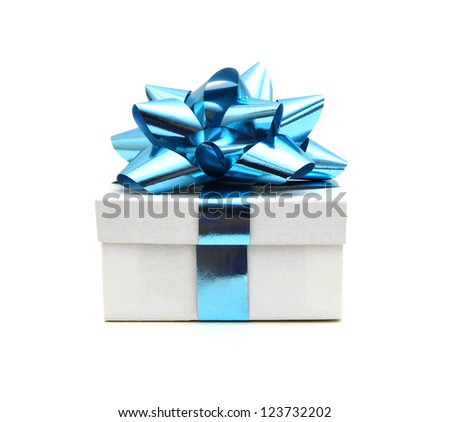 White gift box with a blue bow on white background