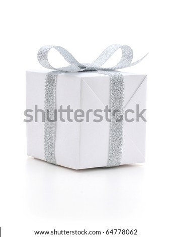 White gift box with a silver bow on white background