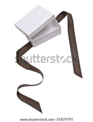 White Gift Box with Brown Ribbon Open Isolated on White with a Clipping Path.