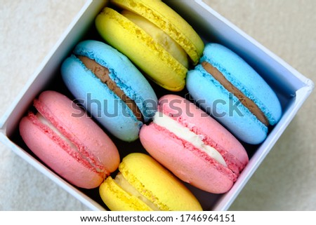 White Gift Box with Colorful french Sweet Pastries Macaroons. For Cafe or Bakery advertising. Isolated on white background.