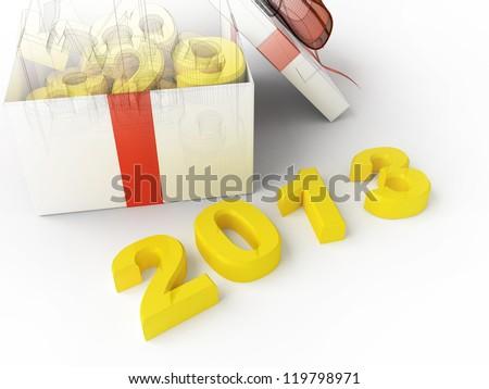White gift box with figures and 2013 3d rendering