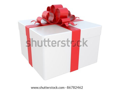 White gift box with red bow. 3D image.