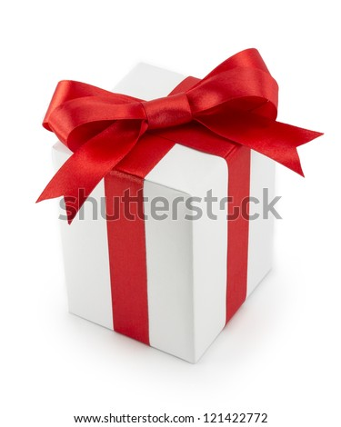 White Gift Box with Red Ribbon Bow isolated on white background - stock photo