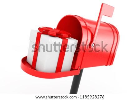 White Gift Box with Red Ribbon in Red Mailbox on a white background. 3d Rendering
