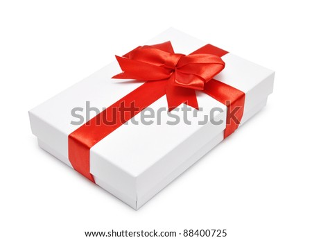 White gift box with red ribbon over white background