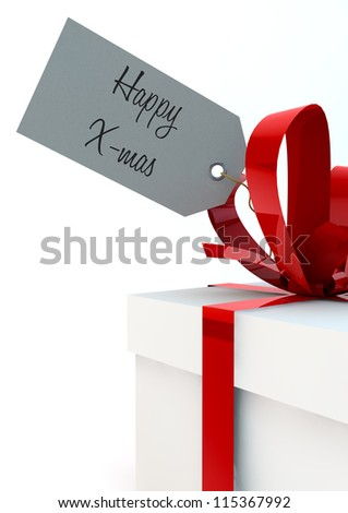 White gift box with red ribbons and a Happy X-mas tag