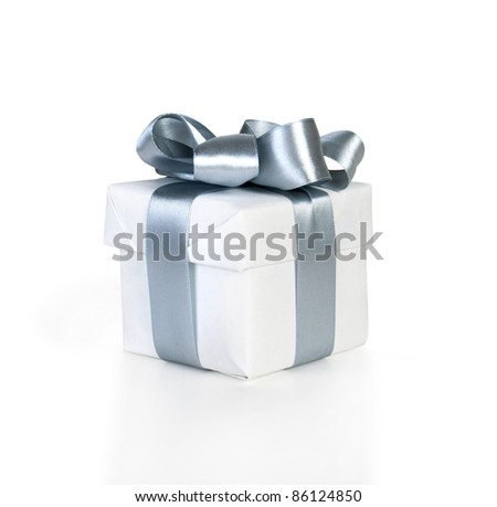 white gift box with silver  ribbon isolated on white