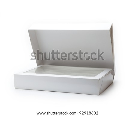 White gift box with transparent inner lid, often used in department stores. Isolated on white.
