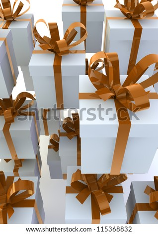 White gift boxes with orange ribbons