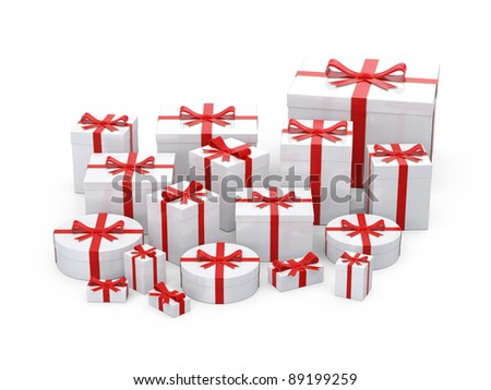 White  gift boxes  with red ribbon on white background