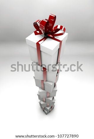 White gift boxes with red ribbons
