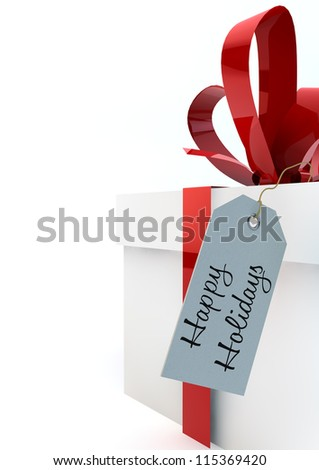 White gift boxes with red ribbons and a Happy Holidays tag