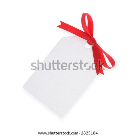 white gift tag with red bow isolated on white background ( with clipping path )