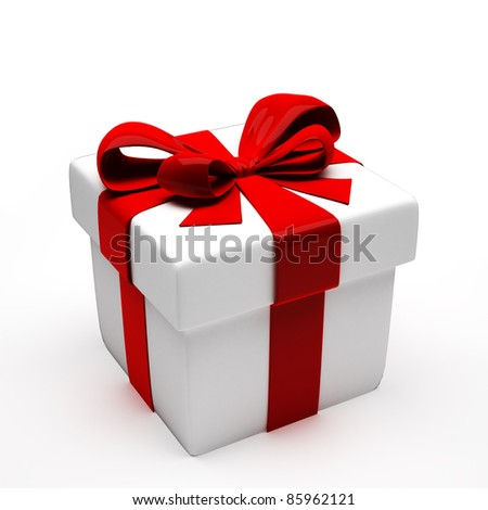 White gift with red bow. 3d illustration - stock photo