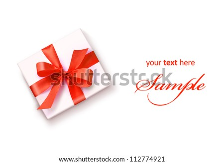 White gift with red ribbon bow isolated on white