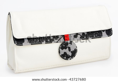 White glamorous hand bag trimmed with black lace with clipping paths