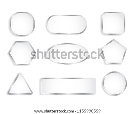 White glass buttons with chrome frame. illustration #1155990559