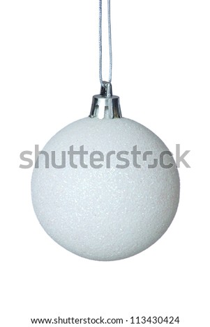White Glitter Covered Christmas Tree Bauble Hanging Over White Background.