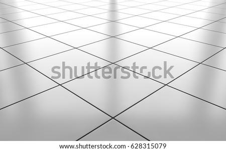 White glossy ceramic tile floor pattern background. 3d rendering