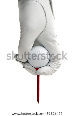 White glove and a white golf ball with a red tee ready to be place in the ground