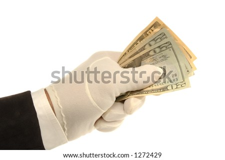 White Gloved hand holding $20 dollar bills
