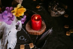 White goat scull with horns, flowers, open old book, candles on witch table. Occult, esoteric, divination and wicca concept. Halloween, Day of the dead concept