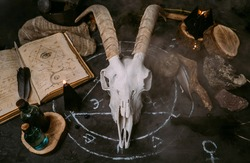 White goat scull with horns, open old book (text - untranslatable, fictional language), black candles on witch table. Occult, esoteric, divination and wicca concept. Halloween, Day of the dead concept