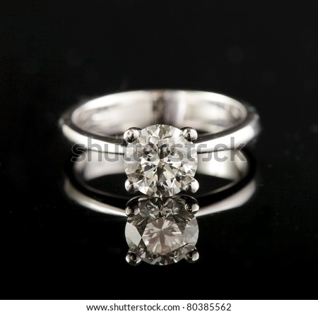 stock photo white gold engagement ring with brilliant