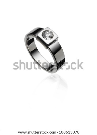 White gold ring with diamond.
